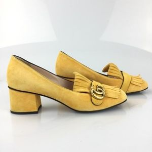 b47239342e6b Gucci Shoes | Yellow Marmont Fringe Loafer Suede Pumps | Poshmark